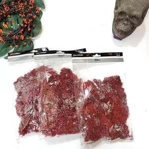 Halloween (3) Bags Bloody Red Glitter Moss Scary for Projects Decorating